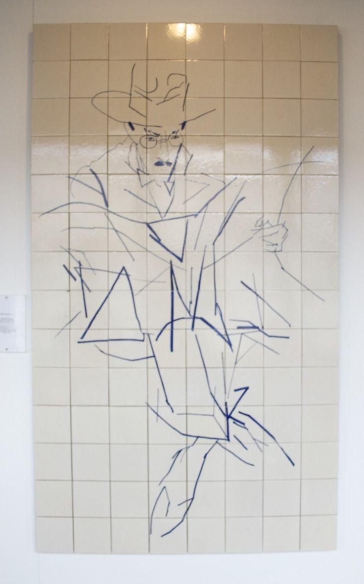 Portrait of Fernando Pessoa by renowned artist Julio Pomar at the Alto Moinhos metro station,  #Lisbon #Portugal