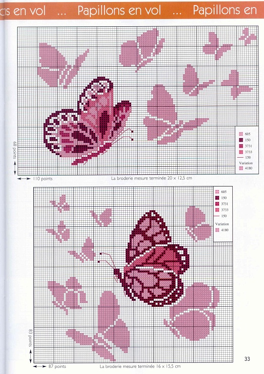 pink butterfly cross stitch