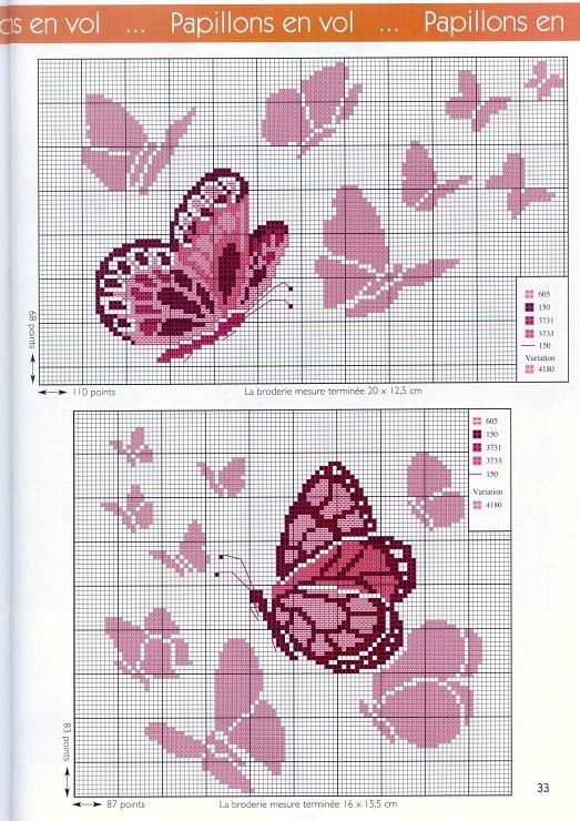 pink butterfly cross stitch