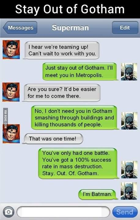 Texts between superheros