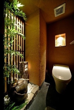 "Japanese style bathroom .  Reminds me of the book by Tanizaki Junichiro,  ""In praise of shadow"" <3"