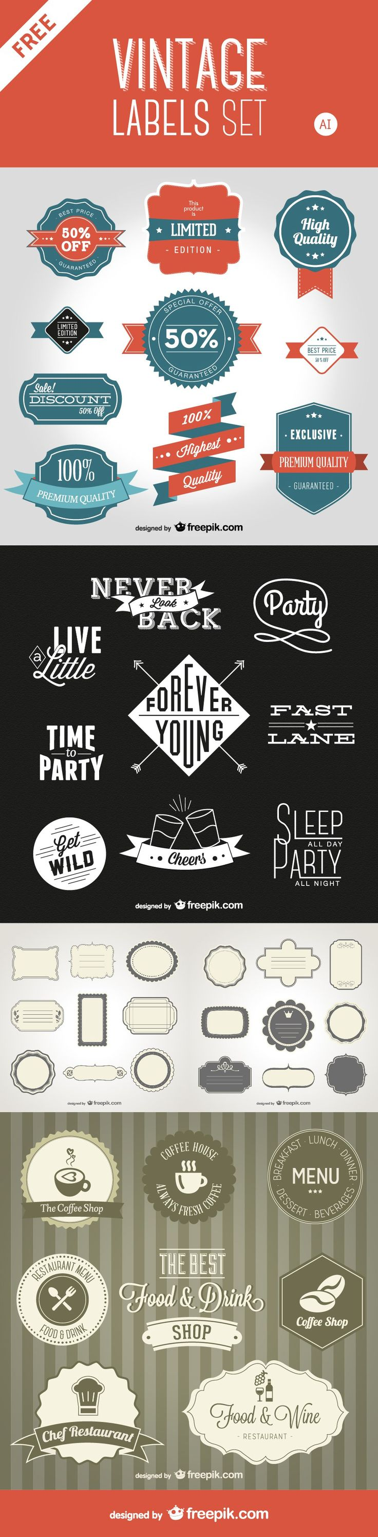 This set includes a variety of well designed retro badges, ribbons, labels and stickers in AI format. - posted under Freebies tagged with: AI, Badge, Free, Graphic Design, Label, Resource, Retro, Ribbon, Sticker, Vector, Vintage by Fribly Editorial