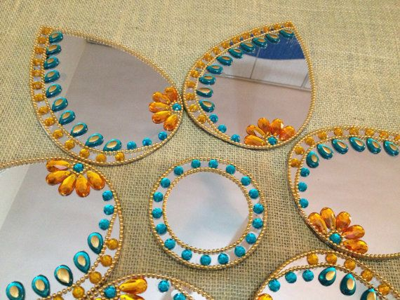 Designer Mirror Modular Kundan Rangoli in Aqua and Golden theme