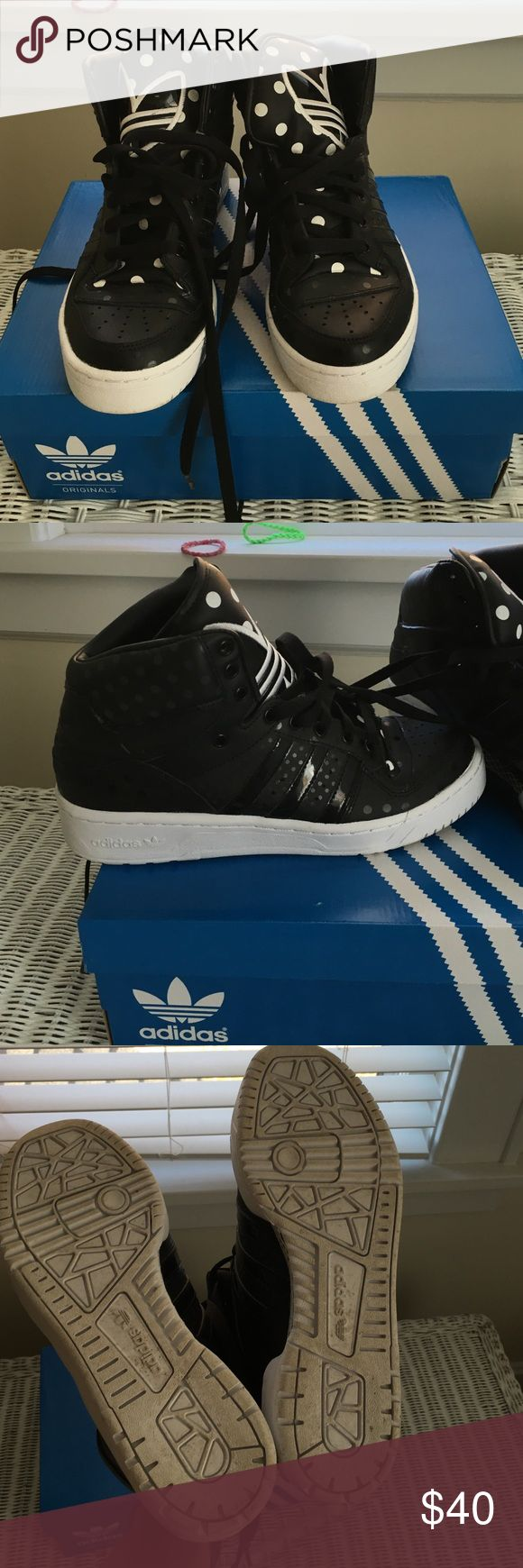 Adidas attitude logo high top sneakers. Worn twice. White polka dots on lip and black polka dots on shoes - subtle Adidas Shoes Sneakers