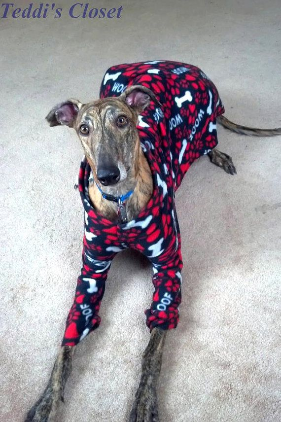 TwoLegged Greyhound Pajamas Custom Made Pink Tie by TeddisCloset ...