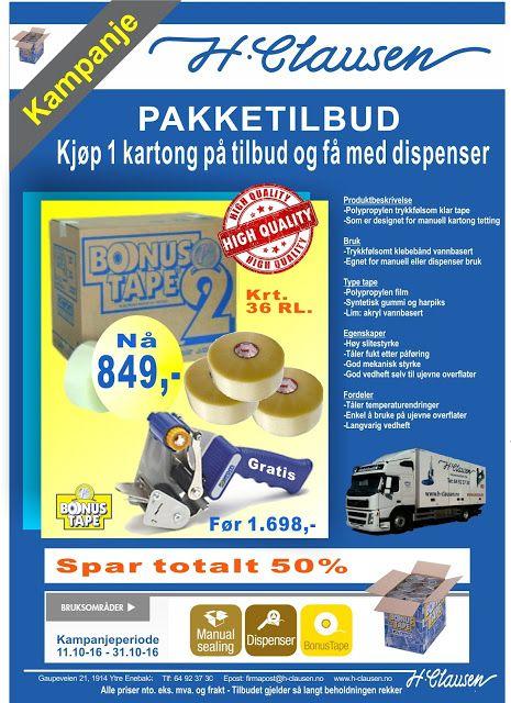 H. Clausen AS: Kjøp en kartong med tape til halv pris, få med gra...