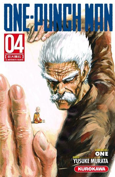 One-punch man. 4 Paru en 2016 aux éditions Kurokawa par Yusuke Murata  Saitama est soulagé d'apprendre qu'il est remonté dans le classement des héros. Mais il n'a pas le temps de souffler car il découvre qu'une météorite menace la Terre. Genos essaie de la détruire en vain.