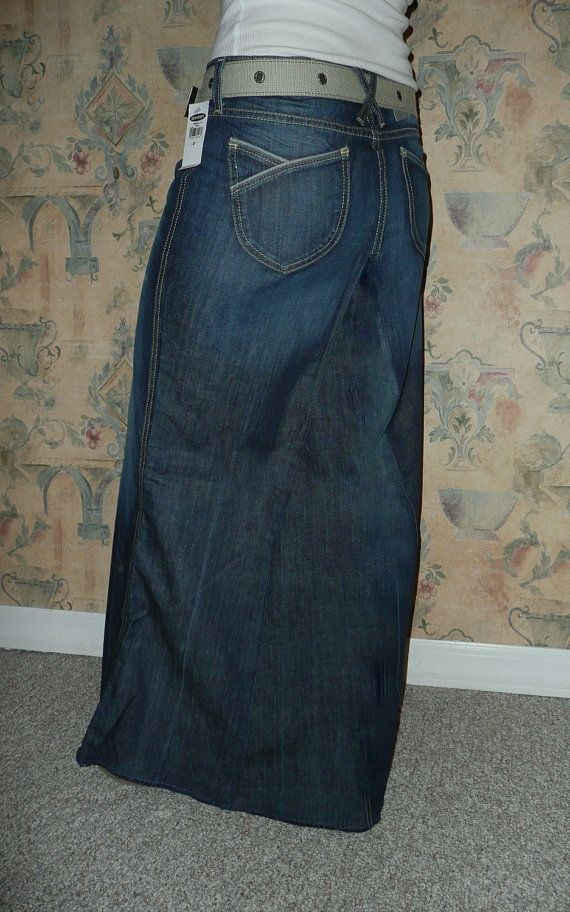 Long Jean Skirt Old Navy New With Tags dark by CustomJeanSkirts