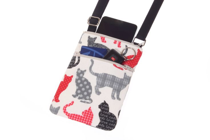 cat purse cat crossbody bag iPhone cat purse, cat phone bag, small cat handbag, black cat travel crossbody bag, girlfriend gift for her