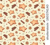 Watercolor seamless pattern. Gingerbread cookies and Christmas spices  by Sundra, via Shutterstock