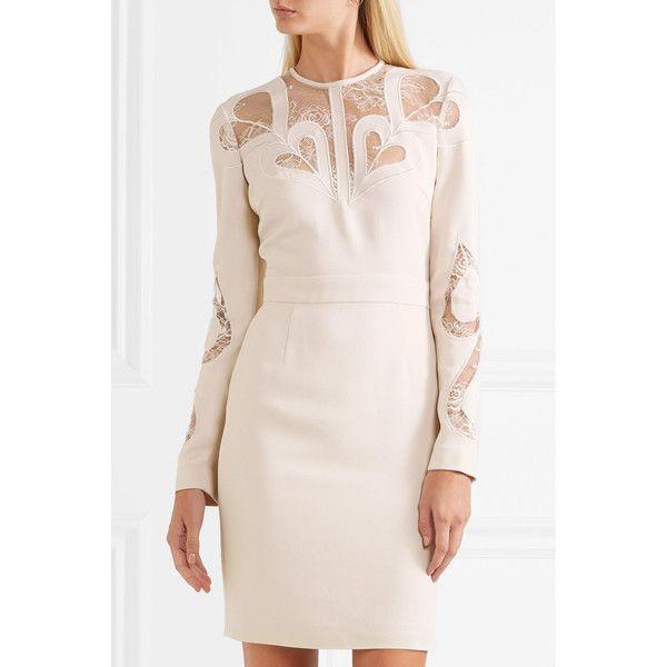 Elie Saab Lace-paneled crepe dress ($3,110) ❤ liked on Polyvore featuring dresses, pink crepe dress, crepe fabric dress, elie saab, heart shaped dress and pink cocktail dress