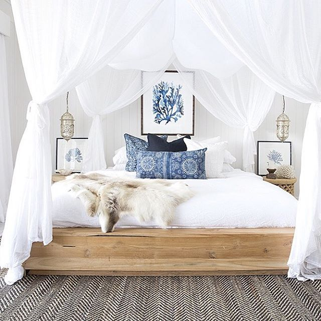 Aster bedroom, canopy netting, white and blue coastal palette