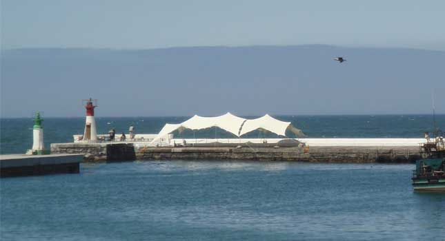 Harbourside stretch tent cover in the beautifully picturesque town of Kalk Bay in Cape Town, South Africa.