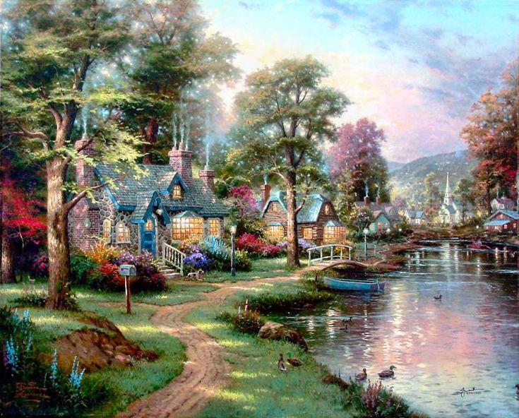 Hometown Lake - Thomas Kinkade
