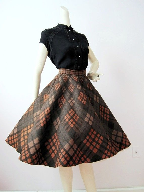 Circle skirt with button up blouse