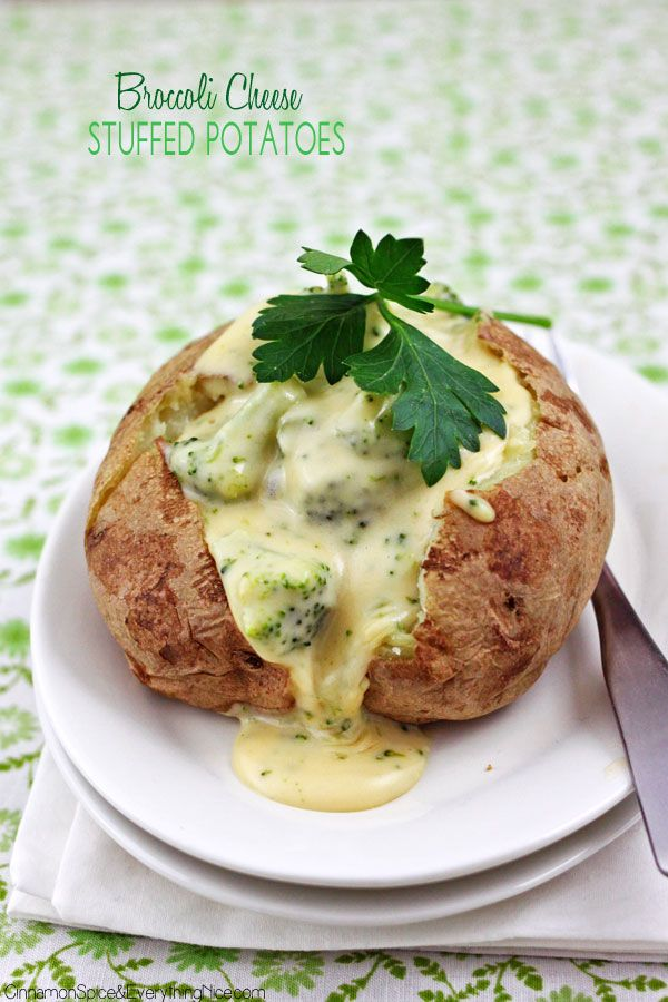 Broccoli Cheese Baked Potatoes | cinnamonspiceandeverythingnice.com | #potatoes #broccoli #side