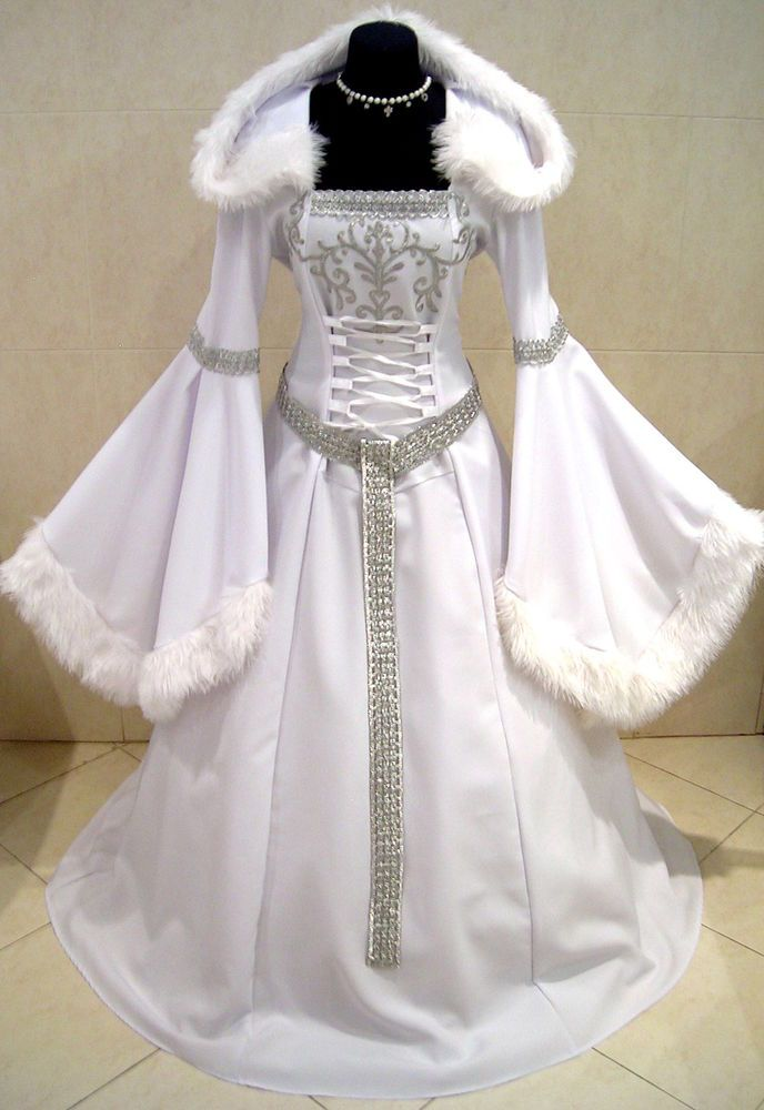 Medieval Dress Silver 20 22 24 Xl 2xl 3xl Snow Ice Queen