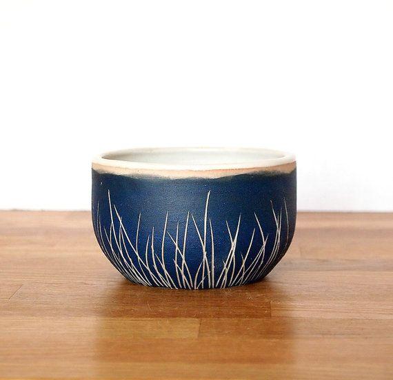 Ceramic Teal Blue Grass Bowl-Small #ceramics #bowl #sgraffito Less is more. Cool.