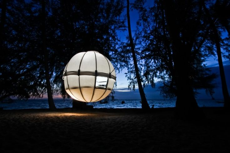 The Cocoon Tree is a pod  that can be suspended from trees and contains a sleeping area big enough for two