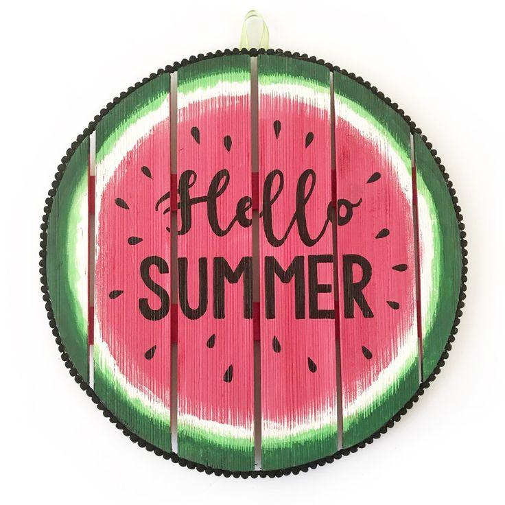 Watermelon Hello Summer Sign - BugabooCity home decor inspiration