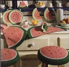 McCalls 6475 Watermelon Patch Pattern Placemats Pot Holder Coasters Napkin Rings…