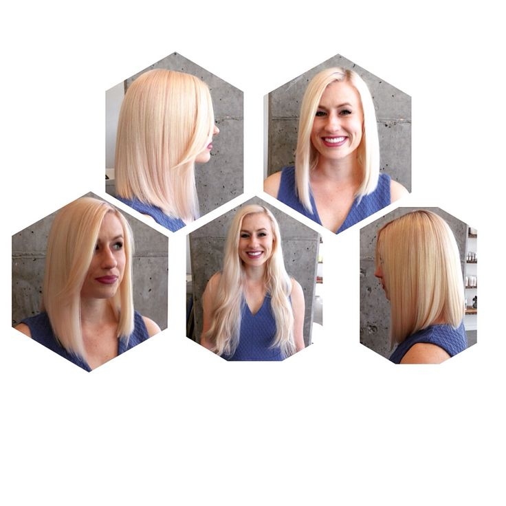 Pale pink lob cut from long and strung out length. www.tothewoodssalon.com