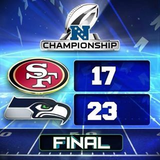 FINAL score of NFC Championship game between the Seattle Seahawks & the San Francisco 49ers at Century Link Field on 1/19/14.