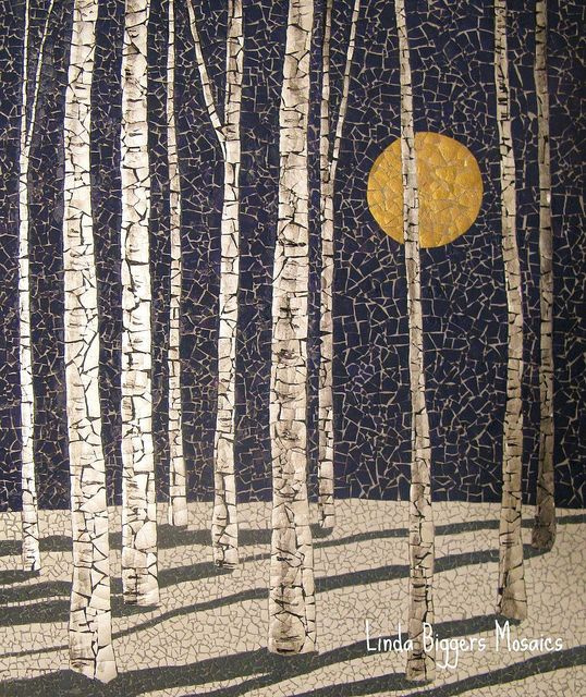 """This is another version of Winter Birches.  9""""x11"""" eggshell mosaic, by Linda Biggers"""