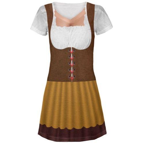 Halloween Beer Wench Peasant Oktoberfest Costume All Over Juniors V-Neck Dress - Medium, Women's, White
