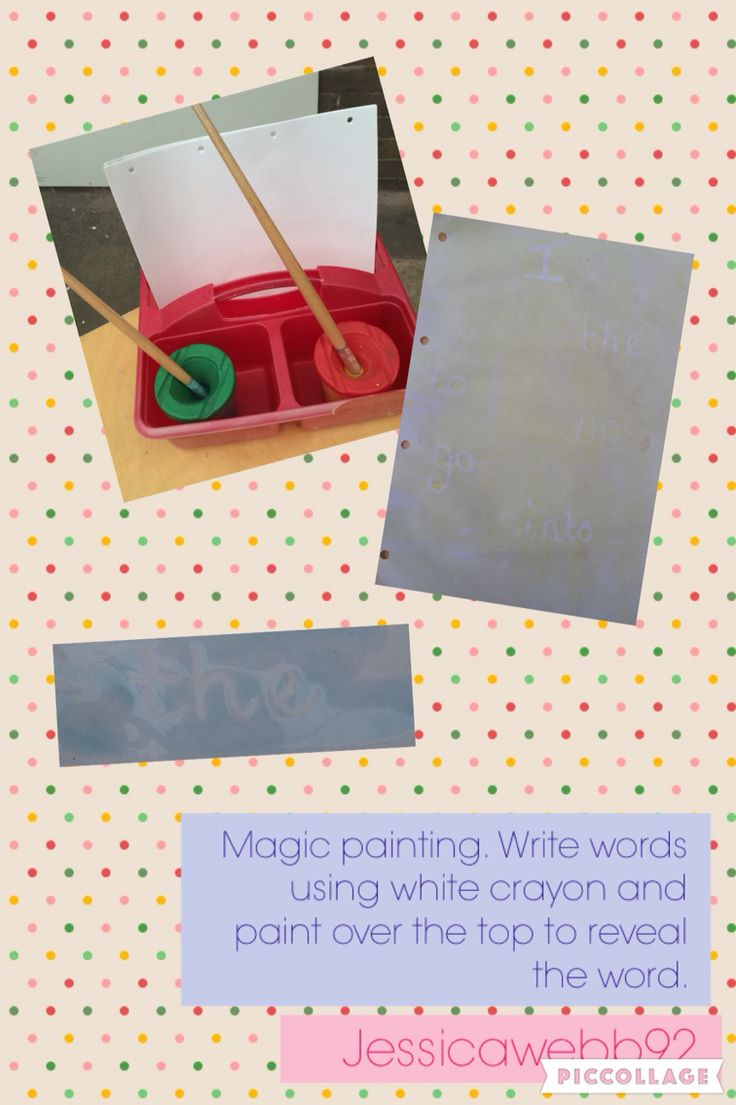 Magic painting. Write words using white crayon and paint over the top to reveal words. EYFS