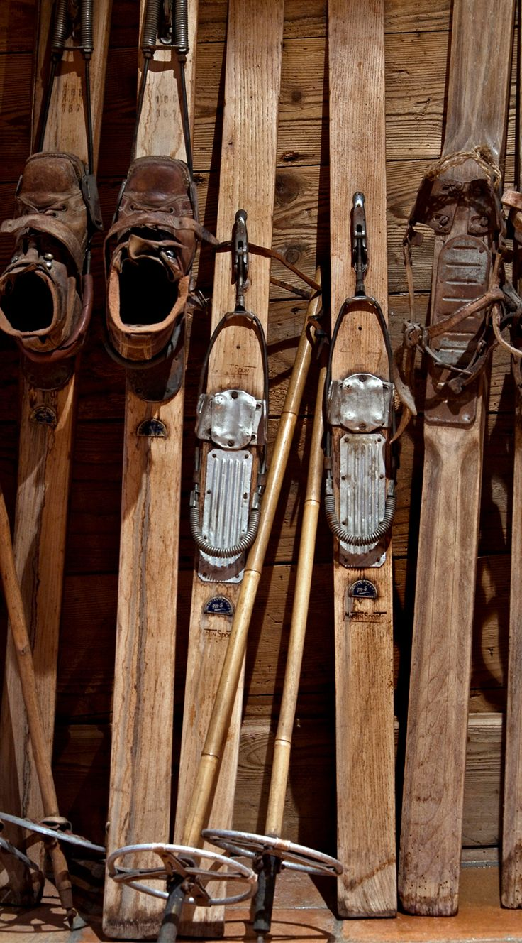 Antique ski located in chalet for decoration