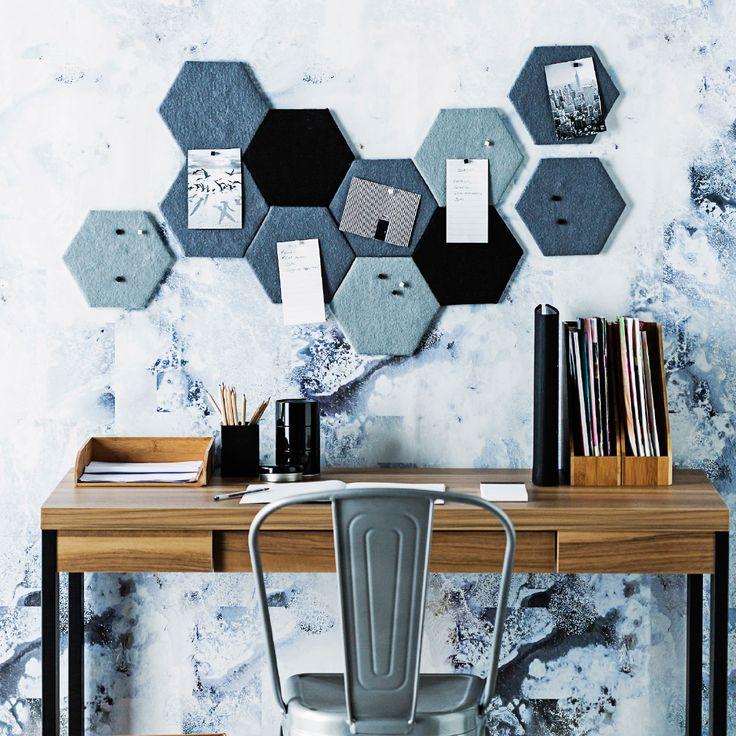 Mini hexagonal pinboards #DIY #officeinspiration #homesplusmag