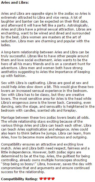 Libra and Aries compatibility. The most trusted astrological site.