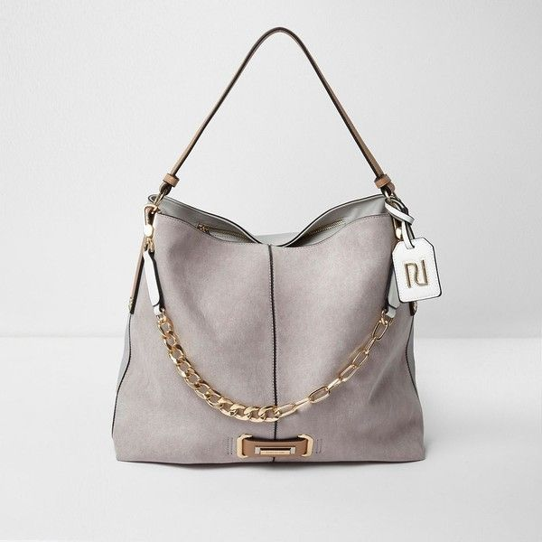 River Island Grey chain front slouch underarm bag (1,315 EGP) ❤ liked on Polyvore featuring bags, handbags, bags / purses, grey, shoulder bags, women, man shoulder bag, man bag, shoulder hand bags and chain purse