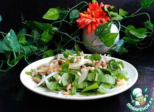 Салат со шпинатом, курицей и грибами - кулинарный рецепт