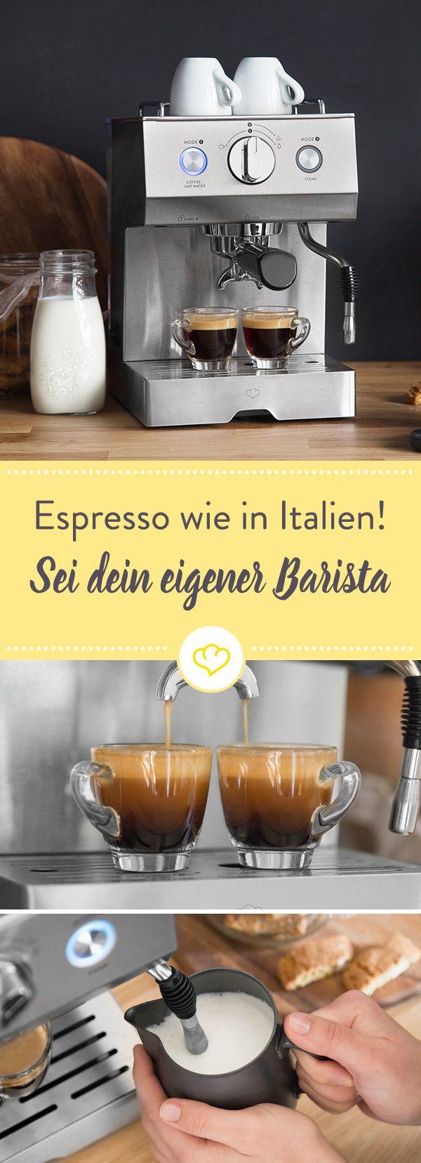 Wenn dich eins aus dem Bett holt, dann der Duft von frisch gebrühtem Kaffee – Den dir Espressomaschine Emilia von Springlane Kitchen jeden Morgen um die Nase weht.
