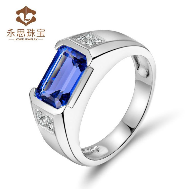 palladium band pin mens valitutti michael s silver white polished ring topaz men tanzanite