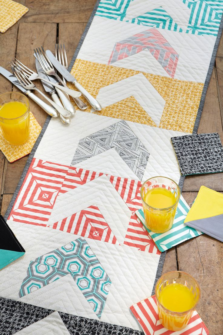 Modern Geometrics Table Runner + Coasters PDF From Love Patchwork Quilting  | Sew Mama Sew |