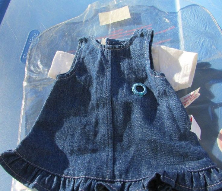 "Corolle Doll Outfit Dress Jean Denim Set 14"" Toddler Doll Vintage with Package #Corolle"