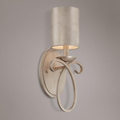 """Golden Silver Metal Shade 15 1/2"""" High Wall Sconce"""