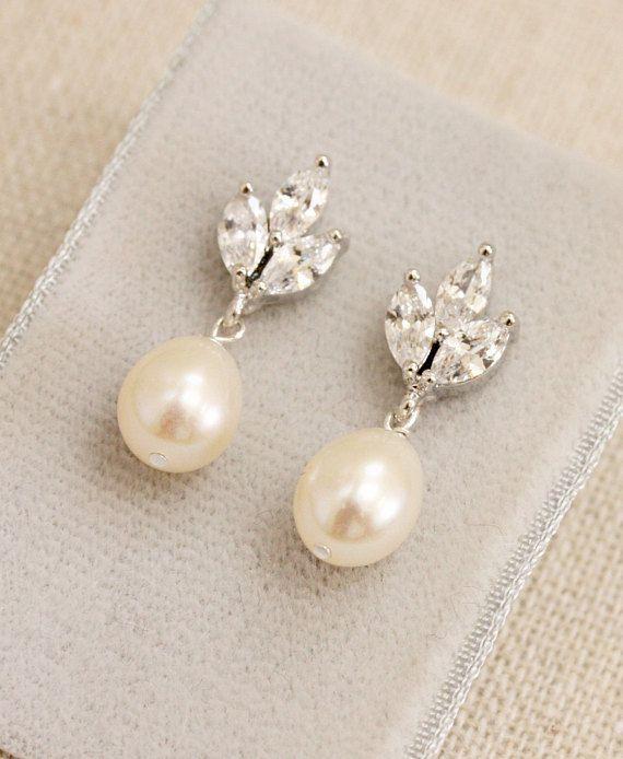 Delicate Rhinestone and Freshwater Pearl Post Drop Earrings