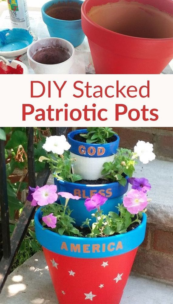 Add Fun 'n Easy Stacked Patriotic Planters to Your Porch
