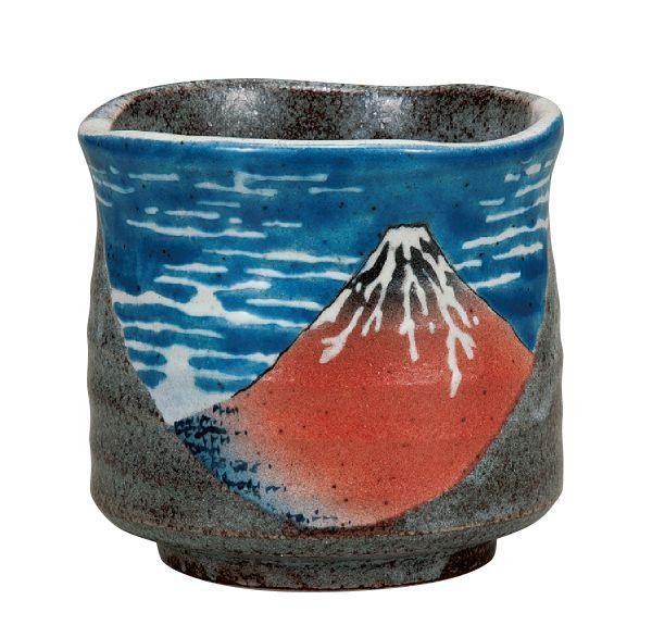 Kutani tea cup  Porcelain Matcha Green tea Japanese bowls Yunomi Hokusai Fuji