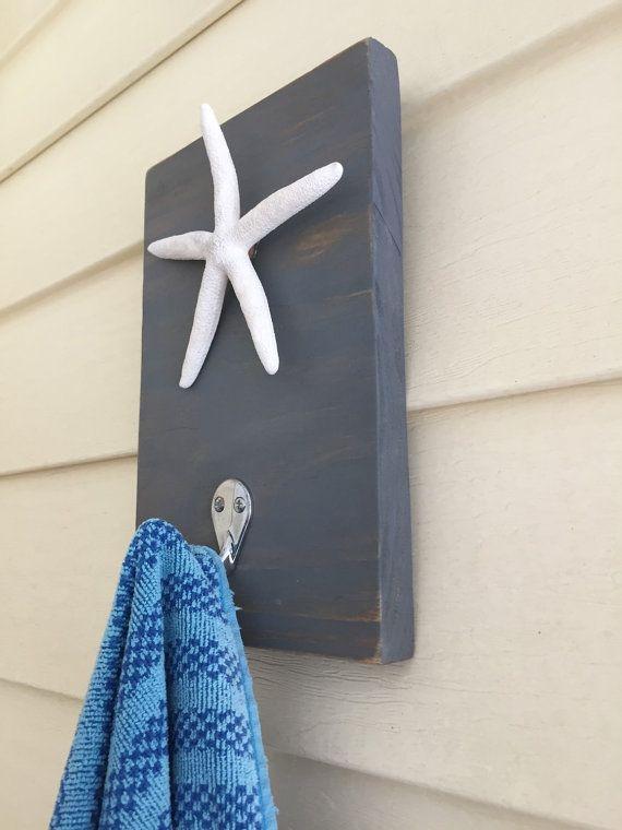 Starfish towel hooks Beach towel rack set of 2 pool by PeavyPieces