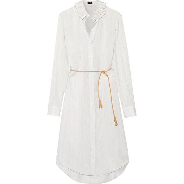 Joseph Evert ruffled pinstriped silk-satin dress ($645) found on Polyvore featuring women's fashion, dresses, silk satin dress, ruffle cocktail dress, joseph dresses, ruffle dress and pinstripe dress