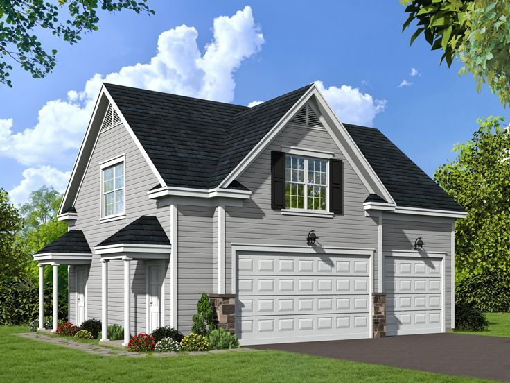 Carriage House Plan Offers Three Car Garage, Complete With 1 Bedroom, 1  Bath Apartment Above That Features A Private Entry For The Living Quarters,  ...