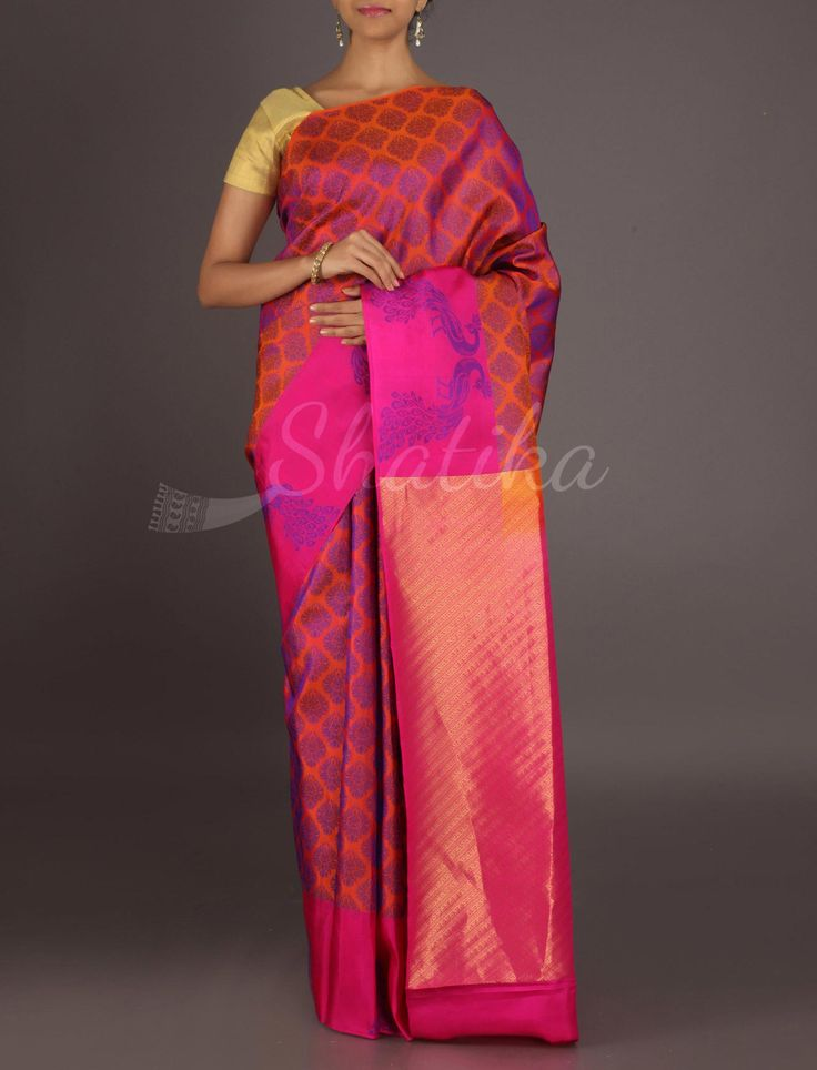 Devi Dual Shaded Peacock Motifs Gold Pallu #ArniSilkSaree