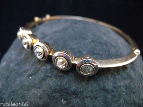 VINTAGE pulsera. Oro con vistas de platino y 2 quilates de diamantes. Años '30 in Relojes y joyas, Vintage y joyería antigua | eBay