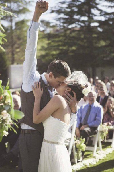 "Why We Love It: We love this groom's enthusiastic reaction to kissing his bride!Why You Love It: ""It's cute, and it clearly shows that he's achieved his dream to be with the woman he really loves. He's expressing himself with both passion"