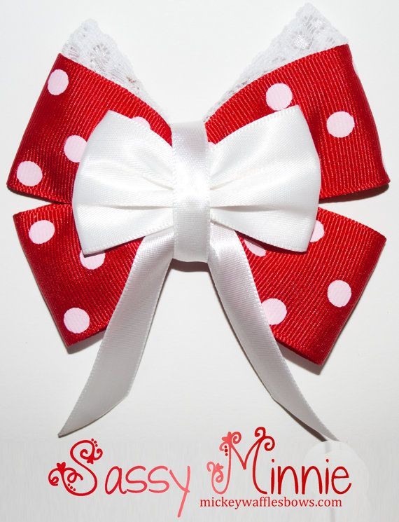 Sassy Minnie Hair Bow by MickeyWaffles on Etsy                                                                                                                                                                                 Mais